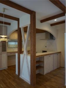 オーダー 家具 塗り壁 チェッカーガラス 食器棚 モザイクタイル 名古屋モザイク